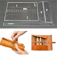 1set DIY Leather Handmade Craft Penbag case Sewing Pattern Acrylic Stencil Template 310x210mm Pitch-row 4mm