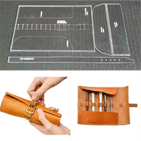 1set DIY Leather Handmade Craft Penbag case Sewing Pattern Acrylic Stencil Template 310x210mm Pitch row 4mm