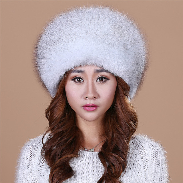 2016  Winter Hats  Knitted  With Fox Fur  Women Customized Headgear Hat For Women Casual Female Mink Fur Hats Free shipping.#HL2
