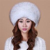 2016 Winter Hats Knitted With Fox Fur Women Customized Headgear Hat For Women Casual Female Mink