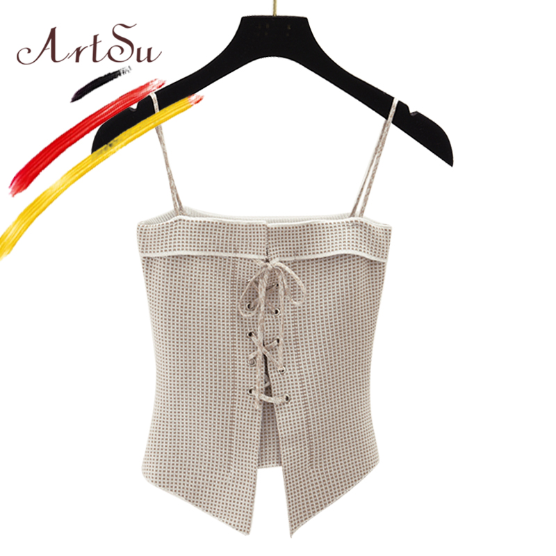 ArtSu Korean Bustier Crop   Top   Summer Women   Tank     Top   Short Vest Sexy Camis Slash Neck Lace Up Plaid Camisole Knitted Clubwear