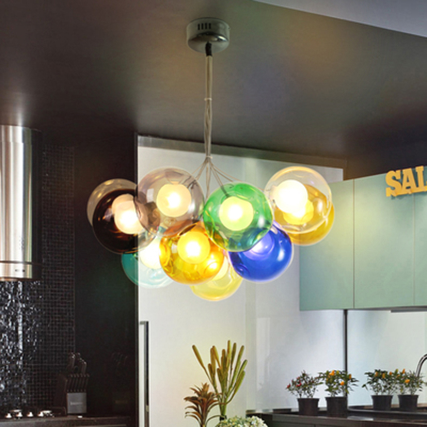 Modern Led Pendant Lights Color Bubble Ball Pendant Lamps Home Decor HangLamp Bedroom Living Room Restaurant Lighting Luminaire in Pendant Lights from Lights Lighting