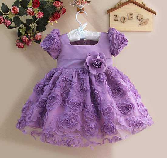 2016 Baby Girl Dress Formal Purple Princess Party Dress Fashion Ball Dress Children Clothing For Summer Size: 1T,2T,3T,4T