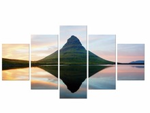 5 Pieces landscape nature mountain peak forest mist clouds sunset sky Wall art Home Decoration Canvas Poster Print Framed