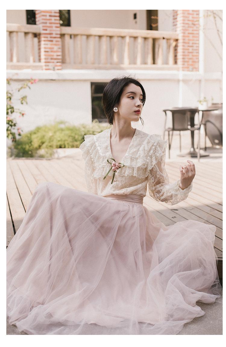 Health 2019 本日の割引 新ファッション女性ツーピースセットサマードレスセットレトロフランスの春ブラウス 9