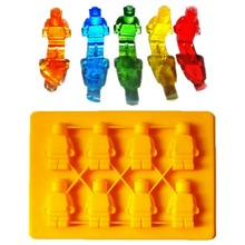Silicone Chocolate Mold Lego Robot Building Bricks Silicone Ice Cube Tray Candy Chocolate Puncake Mold Baking Tools Bakeware 3pcs robot building block silicone ice cube tray molds