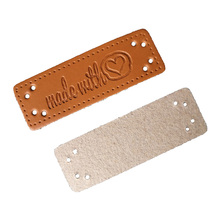 irene brand made for each other 48pcs Hand made leather tags for clothing leather labels made with heart tag for bag customized gift brand logo leather label