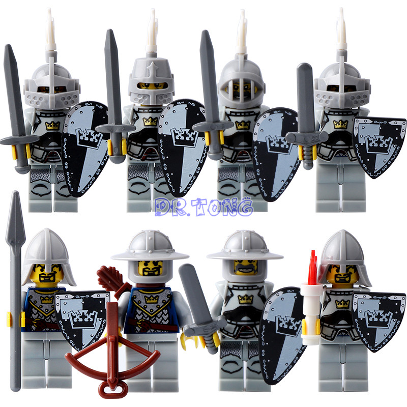 DR TONG Building Blocks WHITE Crown Medieval Castle Armor Knight with Weapons Figures Mini block Bricks