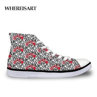 WHEREISART High top Men Graffiti Patterm Shoes Casual Breathable Personalized Male Flat Men's Shoes Studnets Vulcanize Shoes