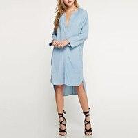 ZANZEA Moda Feminina Em Linha Reta Denim Jeans Olha Azul Com Decote Em V Profundo de Manga Longa Do Vintage Retro Camisola Outono Vestido Vestidos