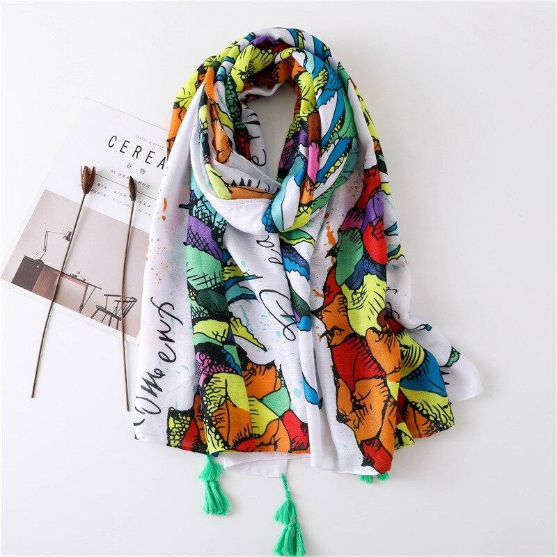Fashion Luxury Brand Fruit Letter Pattern Tassel Viscose Shawl Scarf Ladies Soft Head Wraps Pashmina Stole Muslim Hijab 180*90Cm