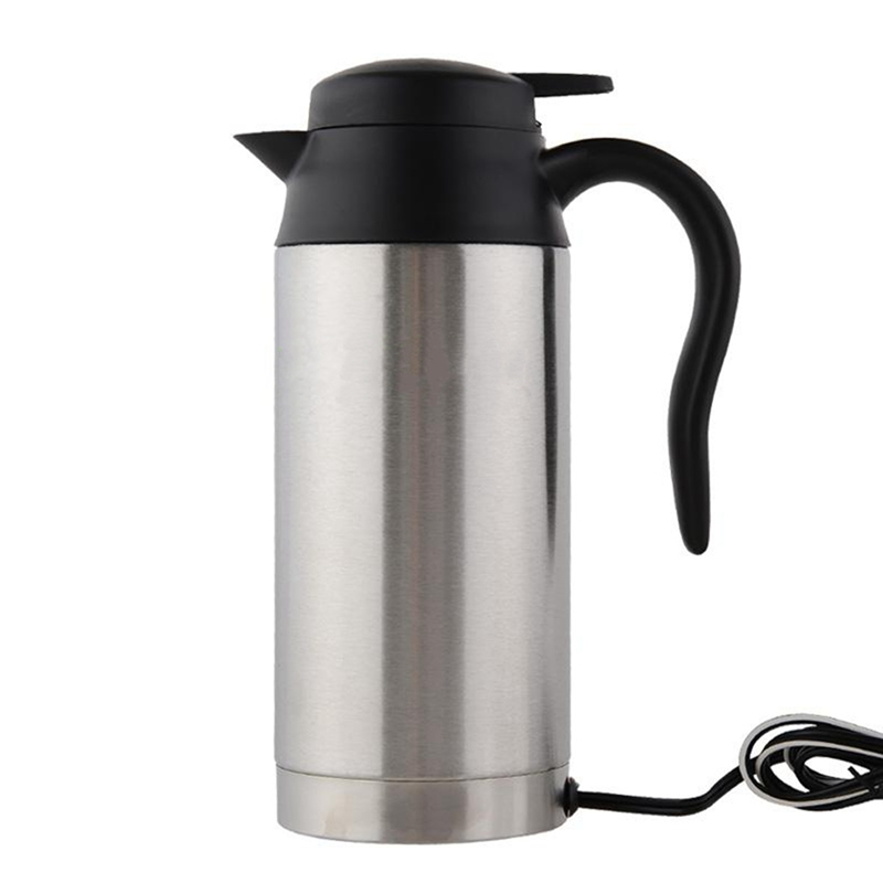 Stainless Steel Cup Kettle 750ml 12V Car Based Heating Travel Thermoses Coffee Tea Heated Mug Motor