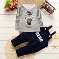 2016 Cute Small Boy Cotton Striped Long Sleeved T-shirt With Rompers Casual Autumn Clothing 2 PCS Sets