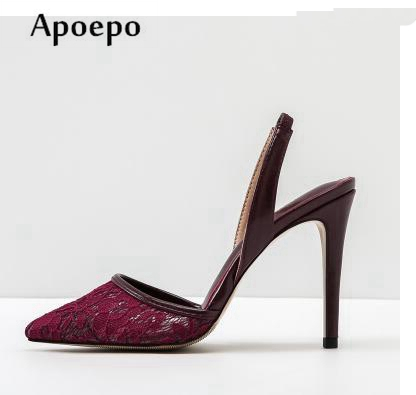 Apoepo Newest High Heel Lace Sandal for Woman 2018 Summer Pointed Toe Shallow Mouth Shoes Cutouts Office Lady Summer Heels slhjc women summer autumn flats pointed toe shallow mouth flat heel sandals rivet shoes casual lady shoes