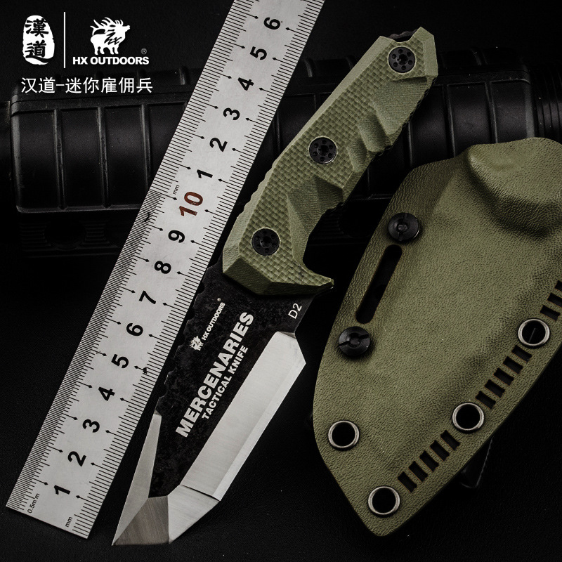 HX OUTDOORS Mini Mercenaries D2 Steel Fixed Blade Knife G10 Handle Utility Outdoor Knives With Kydex Camping Hunting EDC Knife high quality army survival knife high hardness wilderness knives essential self defense camping knife hunting outdoor tools edc