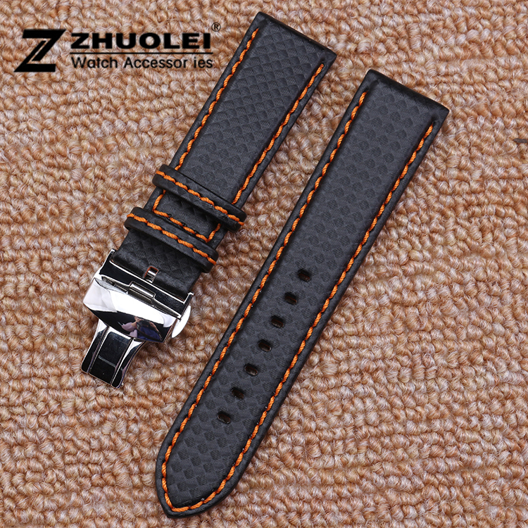 New Men's Orange Stitched Black Carbon Fiber Watch Band Strap Deployment Steel Watch buckle 18mm 20mm 22mm 24mm 20mm 21mm 22mm 23mm 24mm watch band carbon fibre watch strap with orange soft leather lining stainless steel clasp