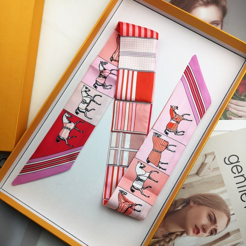 88cm Bright Luxury 2020 Spring Summer New Pattern Horse Print Lady Silk Riband Bags Scarf Small Ribbon Hair Band Bandeaus