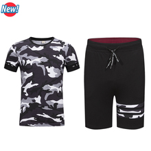 2017 New Men T Shirt+Shorts Camouflage Printed Summer Suits Casual Tshirt Men Tracksuits Brand Clothing M-4XL Set Male T-shirt