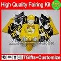 7gifts Yellow black For HONDA CBR919RR CBR900RR CBR 919RR 35C34 CBR 919 RR 98 99 CBR919 RR 1998 1999 Yellow blk 98-99 Fairing