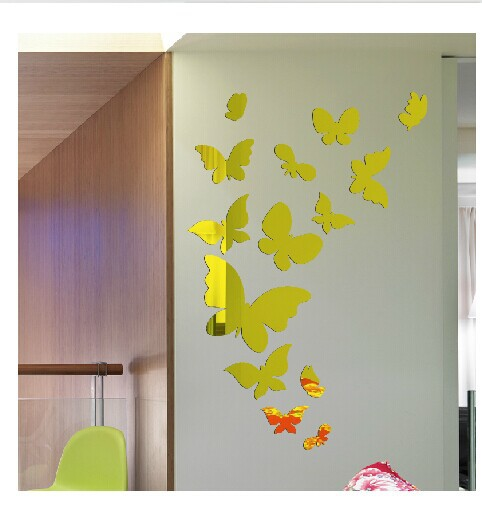 DIY crystal Acrylic 3D butterfly Mirror Sticker ...
