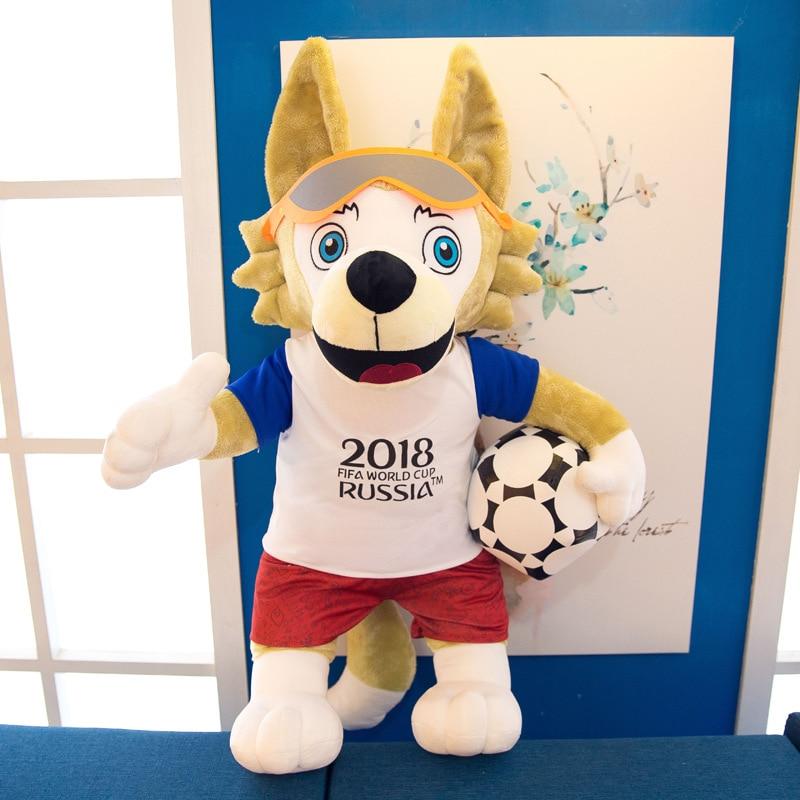 2018 plüsch Maskottchen Weichen Plüsch Spielzeug Gefüllte Wolf Sammlung Sport Ball Fans Russland Souvenir Geschenk Puppe