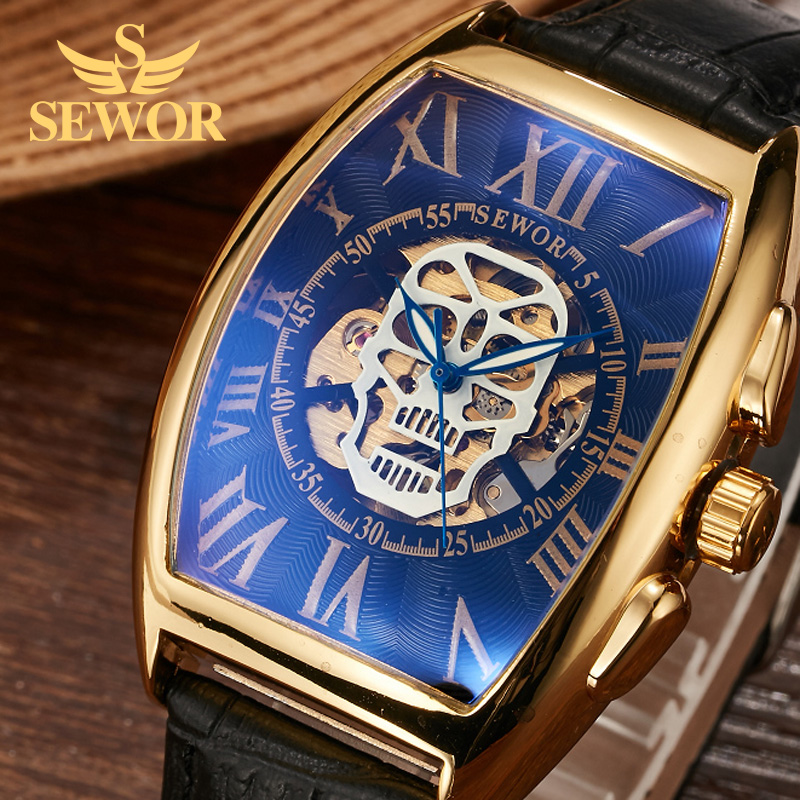 2017 SEWOR Hollow Head Pattern Snore Barrel Shaped Mens Leather Automatic Mechanical Watches Blue watch frame Black watchband hsq001 essence barrel shaped shaking head dog style plastic iron ornament brown