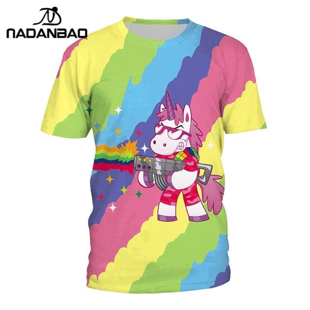 da4ce210 NADANBAO Fashion Summer T Shirt Women Kawaii Unicorn 3D Printed Colorful  Tshirt Grab Spray Painting T