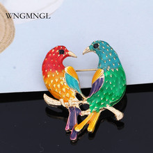 WNGMNGL 2018 New Colorful Style Lovely Animal Enamel Cute Bird Pins and Brooches For Women Men Unisex Fashion Jewelry Best Gift