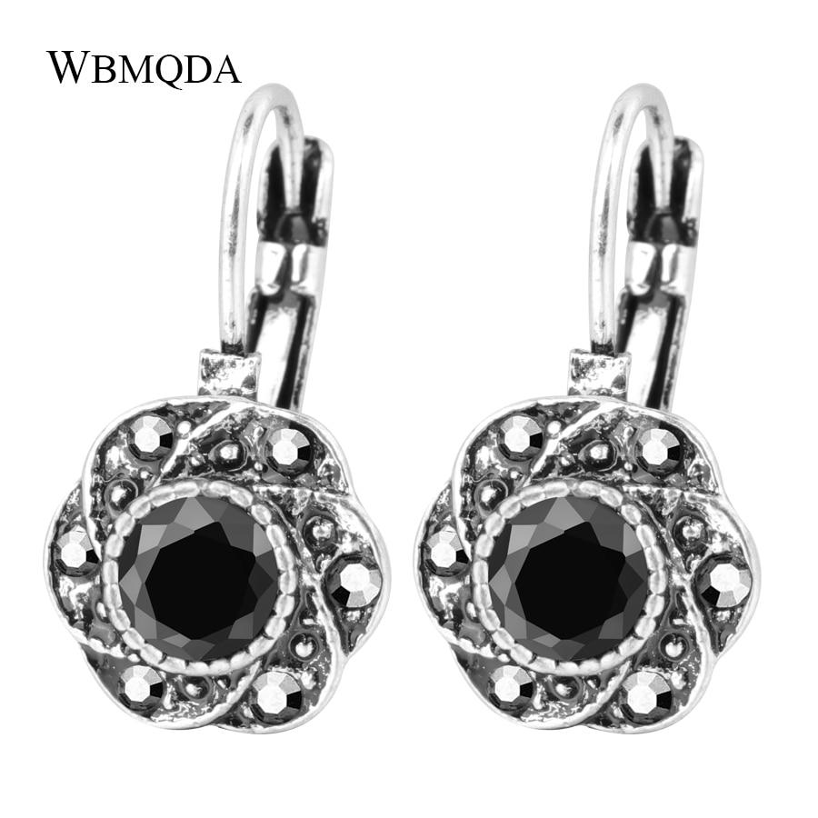 Antique Silver Crystal Flower Earrings