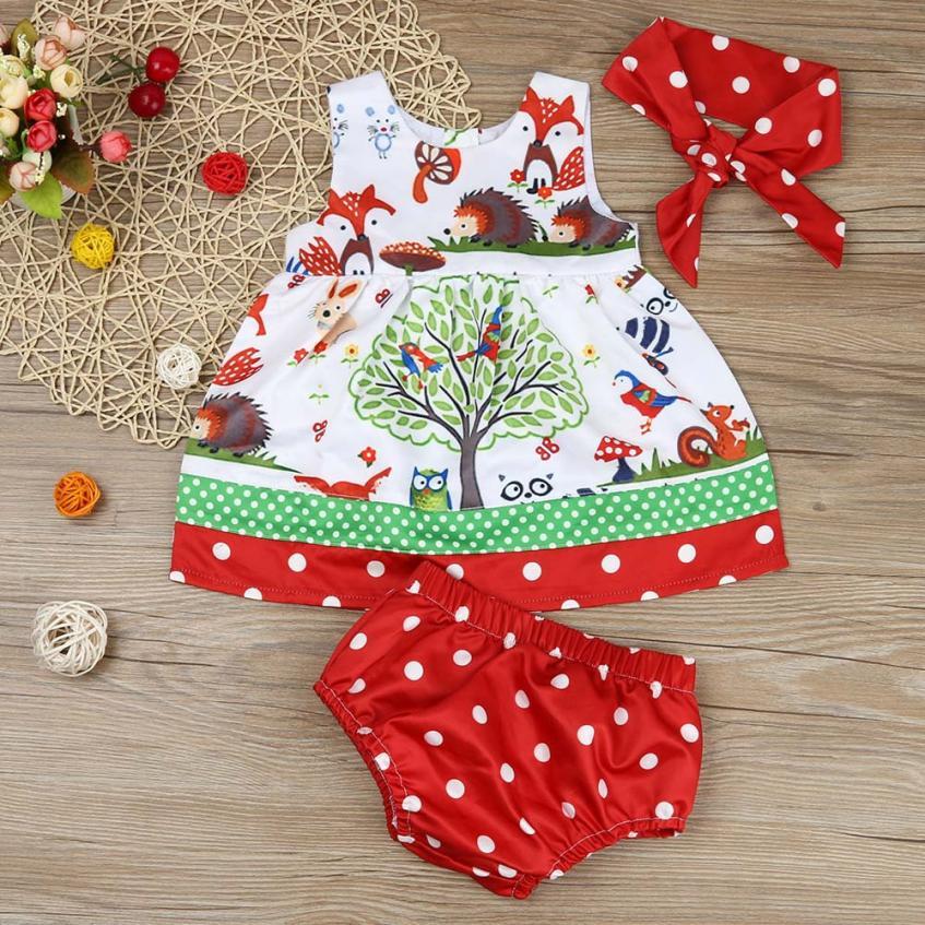 3pcs summer Baby infant dresses Woodlands baby dress Dot Shorts Pants newborns Headband baby girl outfit clothes princess dress