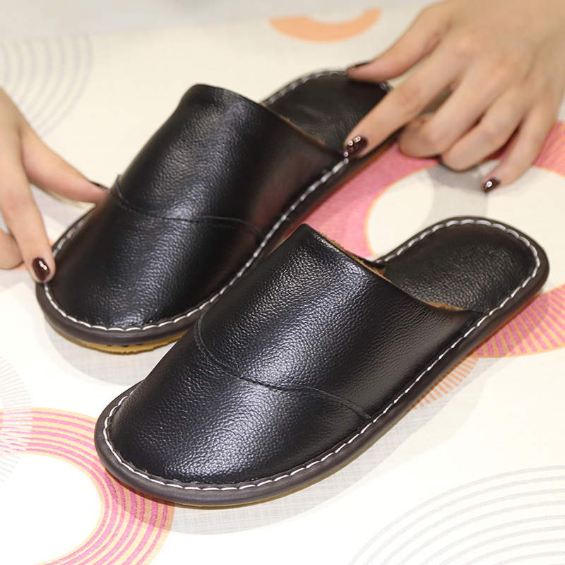 New Luxury Autumn Winter Fashion Home Slippers Men Genuine Cow Leather Sandals Shoes Father Study Bedroom Slippers Size 39-44