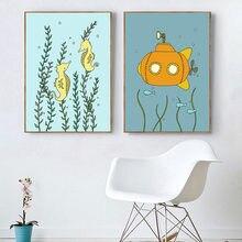 Детские постеры под морем осьминог холст живопись Нарвал морская