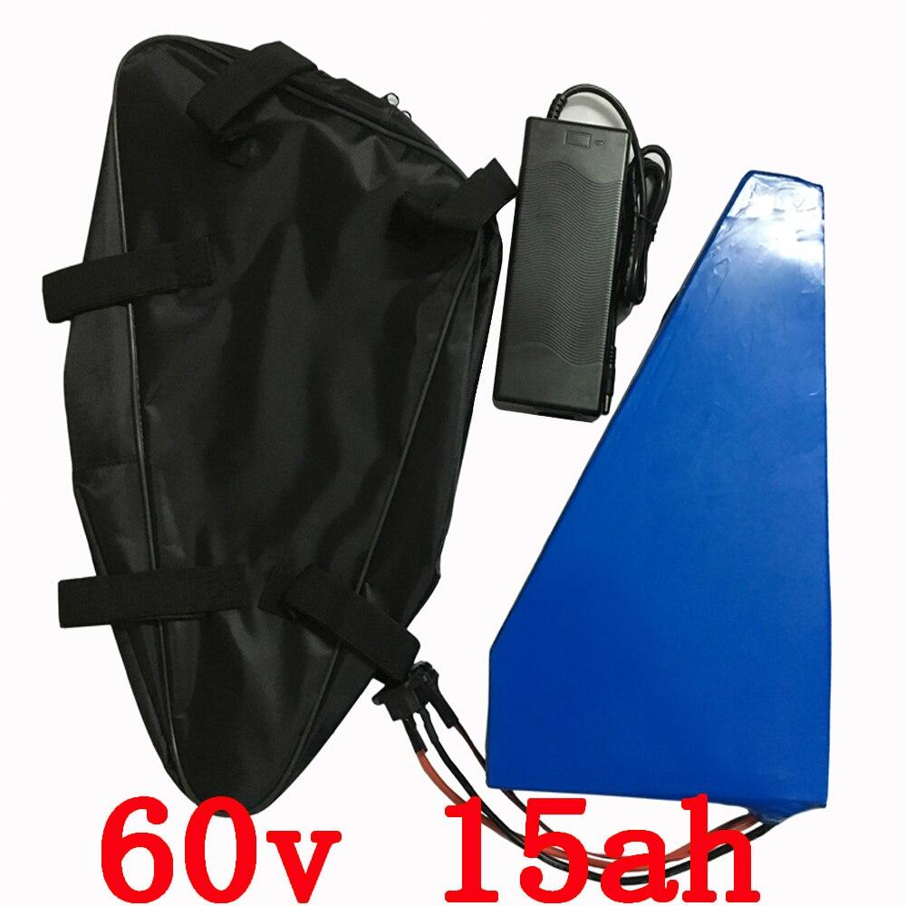 60 V 15ah Triangle batterie 60 V 15AH batterie au lithium 60 V 15AH 1000 W 1500 W vélo électrique batterie avec 30A BMS + 67.2 V 2A Charge + sac