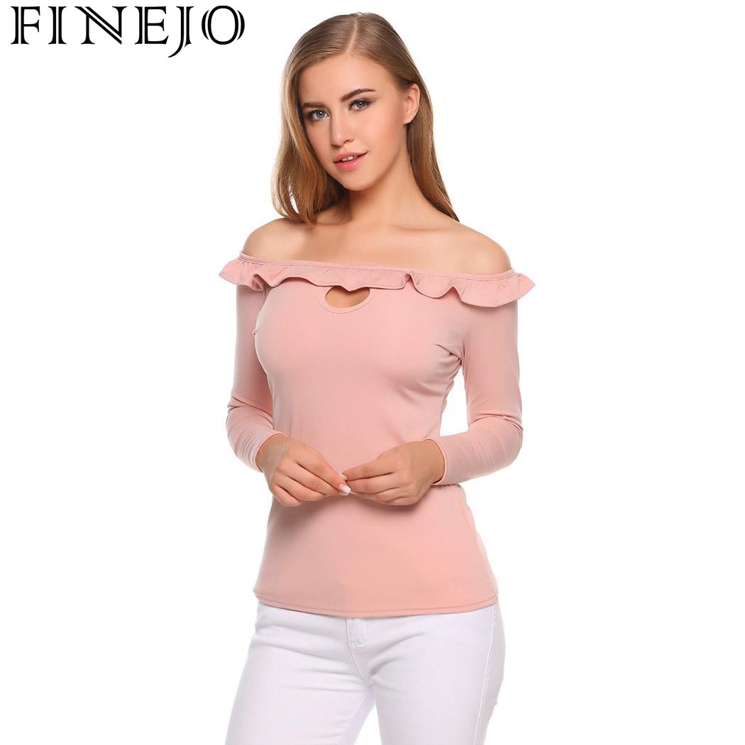 FINEJO Off Shoulder T-shirts Women Sexy Long Sleeve T Shirt Slim Fit Stretchy Solid Pullover Tops Shirt