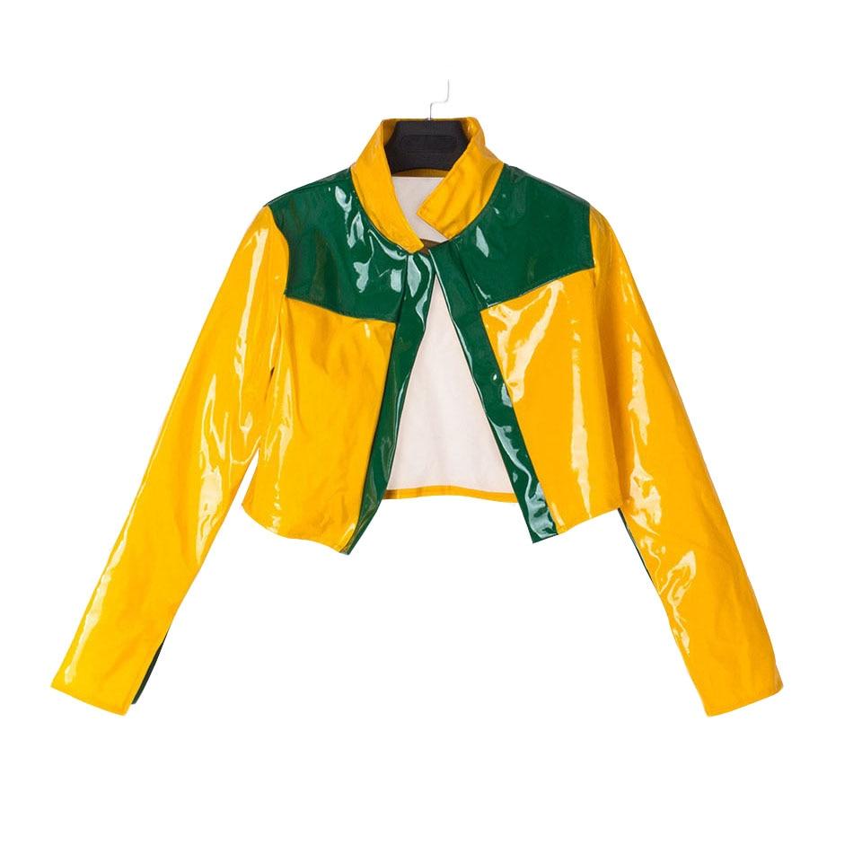 Fashion 2017 Women PU Jackets Yellow Bomber Patchwork Casual Jaqueta Baseball Hip Hop Ladies Short Coat Women Autumn Fall Jacket