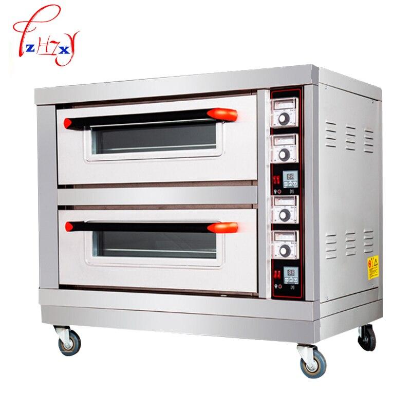 Электрическая печь для выпечки хлеба 6400 Вт двухслойные двойные тарелки Торт Пицца машина из нержавеющей стали для коммерческих 220 В CE