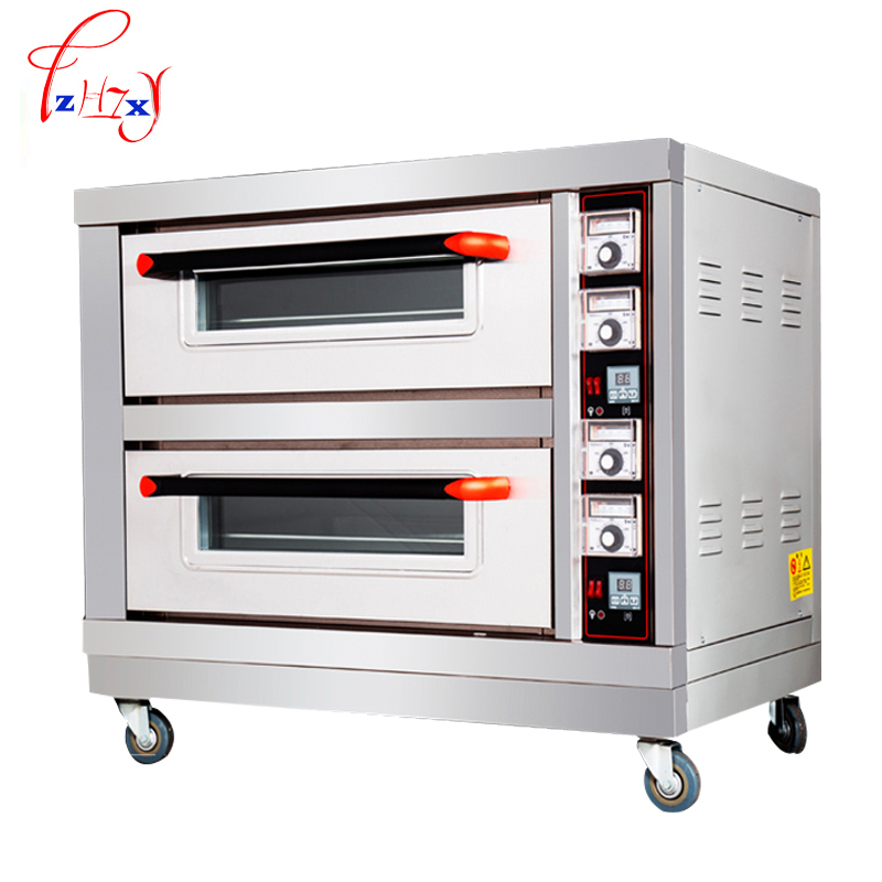 Commercial Electric oven 6400w baking oven baking oven double layers double plates baking bread cake bread Pizza machine pfml nb400 stainless steel high temperature deck baking pizza oven machine for pizza shop