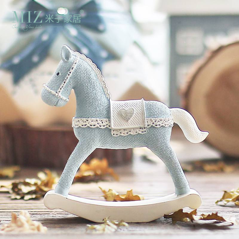 Miz Home Blue Horse Handmade Craft Toy for Children Roly-poly Gift - Home Decor
