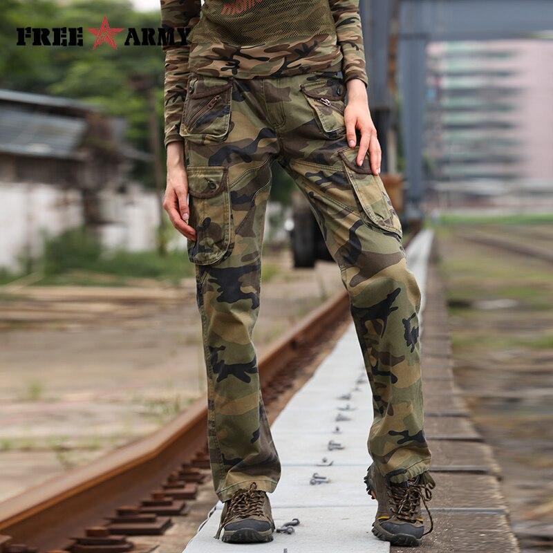 de4a2fcb0 شحن الجيش العلامة التجارية المرأة التمويه السراويل جيوب القطن عارضة فضفاض  كامل طول البضائع النساء السراويل الشتاء لباس خارجي GK-918