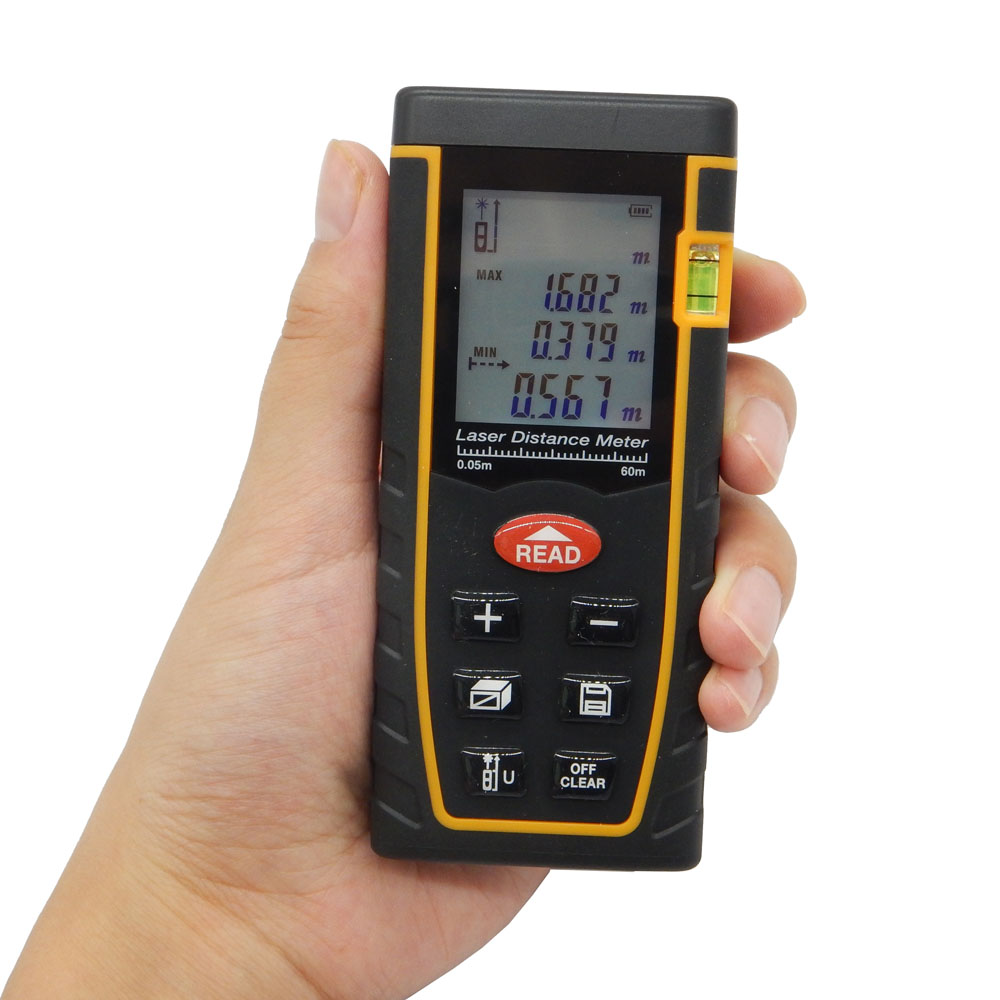 ФОТО Digital Laser Distance Meter Rangefinder 60M SW-T60 Range Finder with Large LCD display and Bubble Level