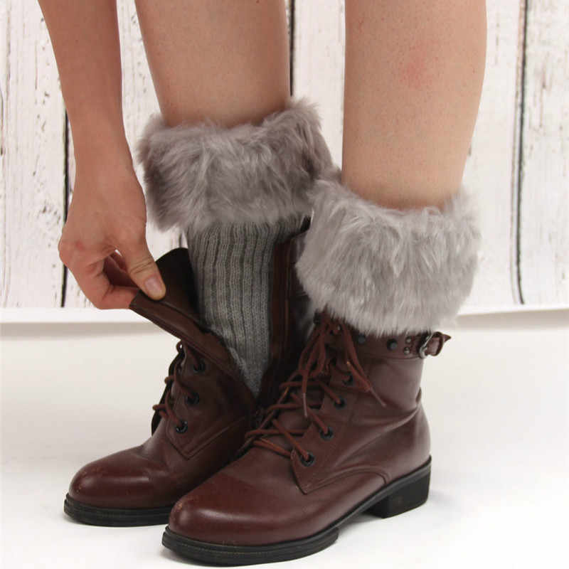 Womens Winter Warm Haak Knit Faux Fur Trim Beenwarmers 2018 Nieuwe Mode Zachte Manchetten Toppers Enkel Knie Boot Sokken accessoires