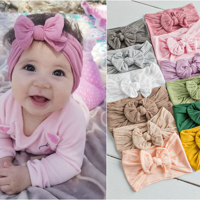 2019 Nova Alça De Nylon Bebê Coelho Macio Bowknot Faixas de Cabelo para Crianças Meninas Elastic Headwrap Turbante Acessórios Para o Cabelo