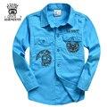 XIAOYOUYU Decoração Desenho Animado Meninos Moda Camisas Tamanho 120-160 cm New Arrival Projeto do Bolso Crianças Clothings Casual