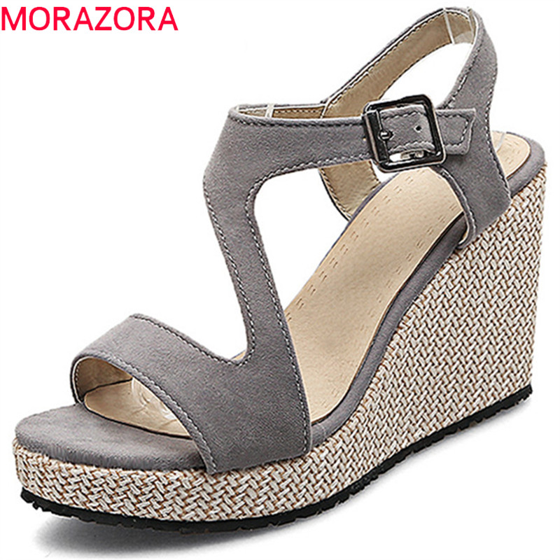 MORAZORA 2018 new arrival women sandals flock simple buckle summer shoes peep toe comfortable elegant wedges high heels shoes morazora 2018 new women sandals summer sweet bowknot comfortable buckle spike high heels platform shoes peep toe shoes woman
