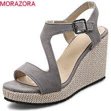 MORAZORA 2020 新到着の女性のサンダルフロックシンプルなバックルの夏の靴ピープトウ快適なエレガントなウェッジハイヒールの靴