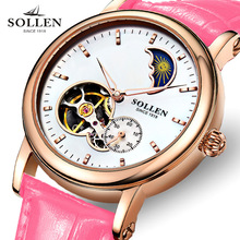 reloj mujer Hot fashion watches women Automatic mechanical watches SOLLEN brand unique dial design lovers' leather wristwatches