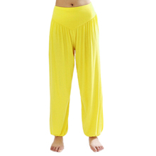 SZ-LGFM-High Waist Stretch Yoga Pants Flare Wide Leg Bloomers-Yellow,S