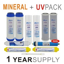 1 Year Supply Mineral Ultraviolet Reverse Osmosis System Replacement Filter Sets -11 Filters with UV Bulb and 50 GPD RO Membrane