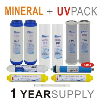 1 Year Supply Mineral Ultraviolet Reverse Osmosis System Replacement Filter Sets -11 Filters with UV Bulb and 50 GPD RO Membrane 1 year supply alkaline ultraviolet reverse osmosis system replacement filter set 11 filters with uv bulb and 50 gpd ro membrane