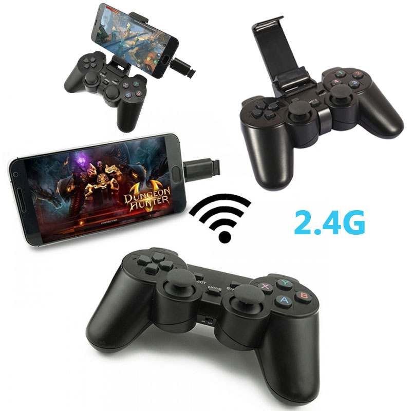 2.4G Vibration Wireless Gaming Controller Gamepad Joystick For Android Tablets Phone PC TV PS3 Game Console with Bracket